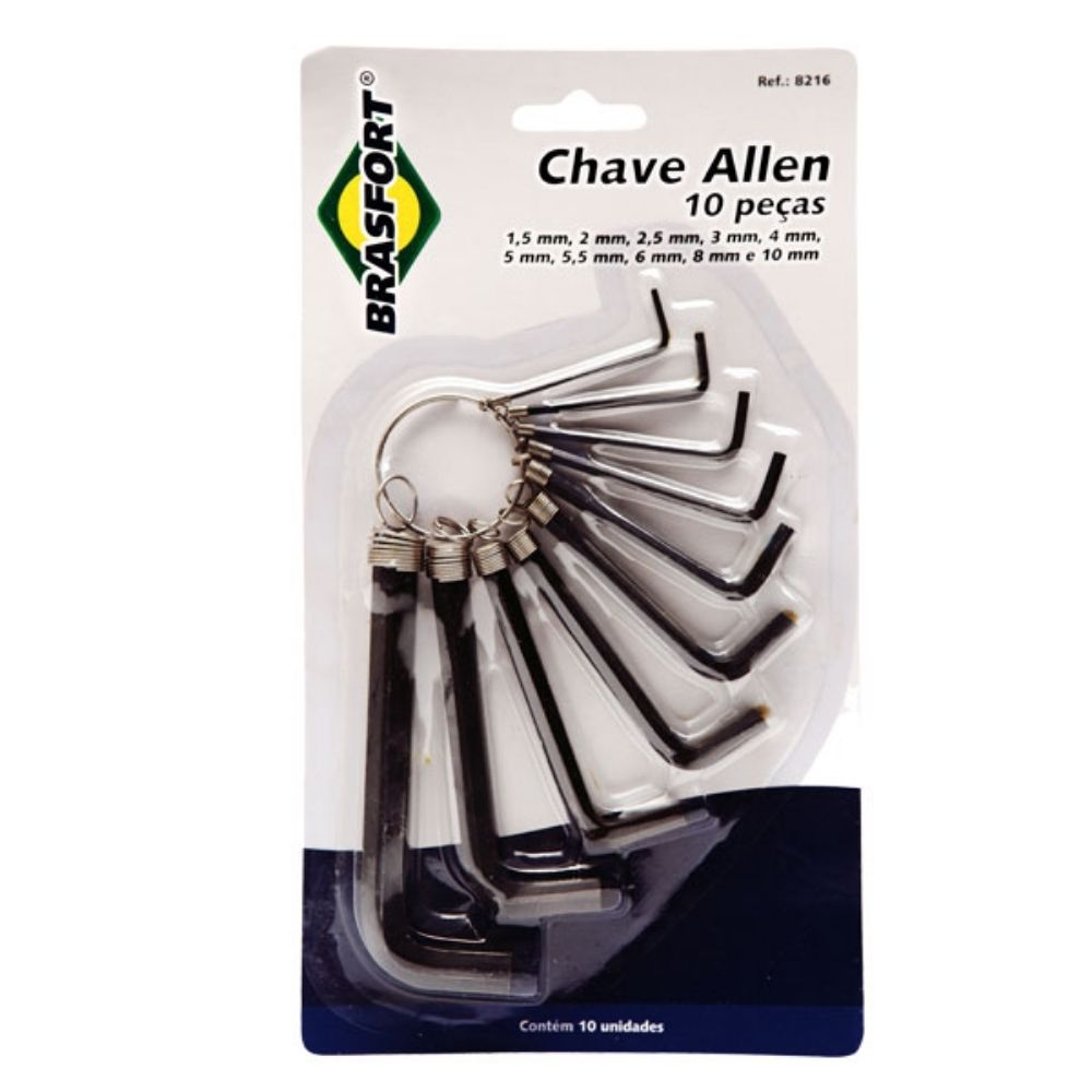 Jogo de chaves Allen 1,5mm a 10mm com 10 peças