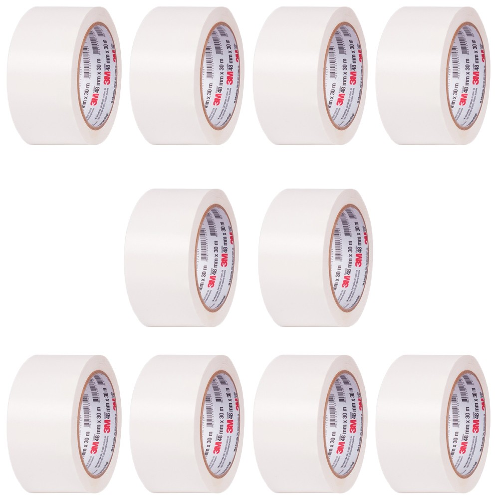 Kit Fita de Papel Crepe Colorida 101LA 3M 48mm X 50m Branca - 10 Unidades