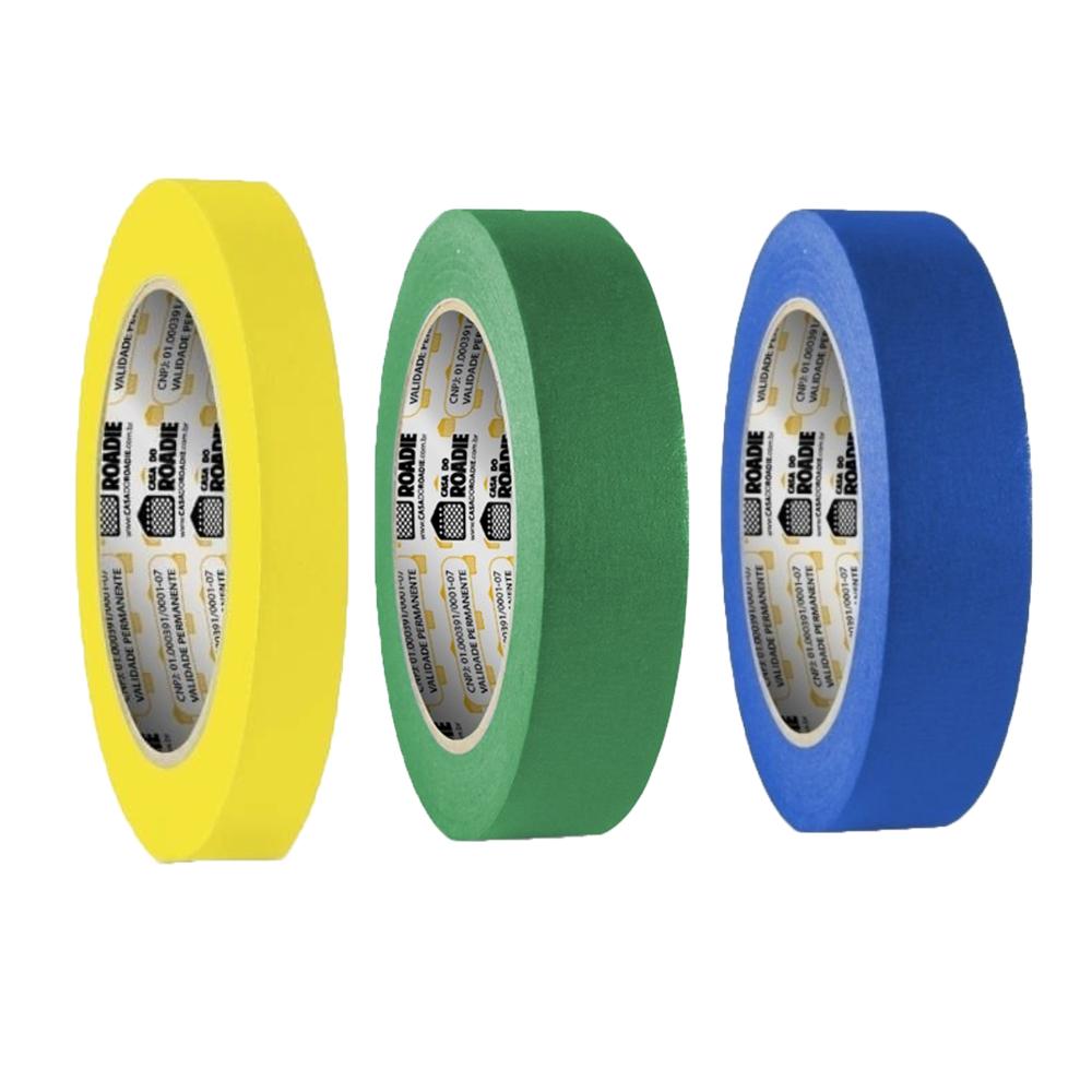 Kit Fita de Papel Crepe Colorida Casa do Roadie 18mm X 50m - 3 Cores  - Casa do Roadie