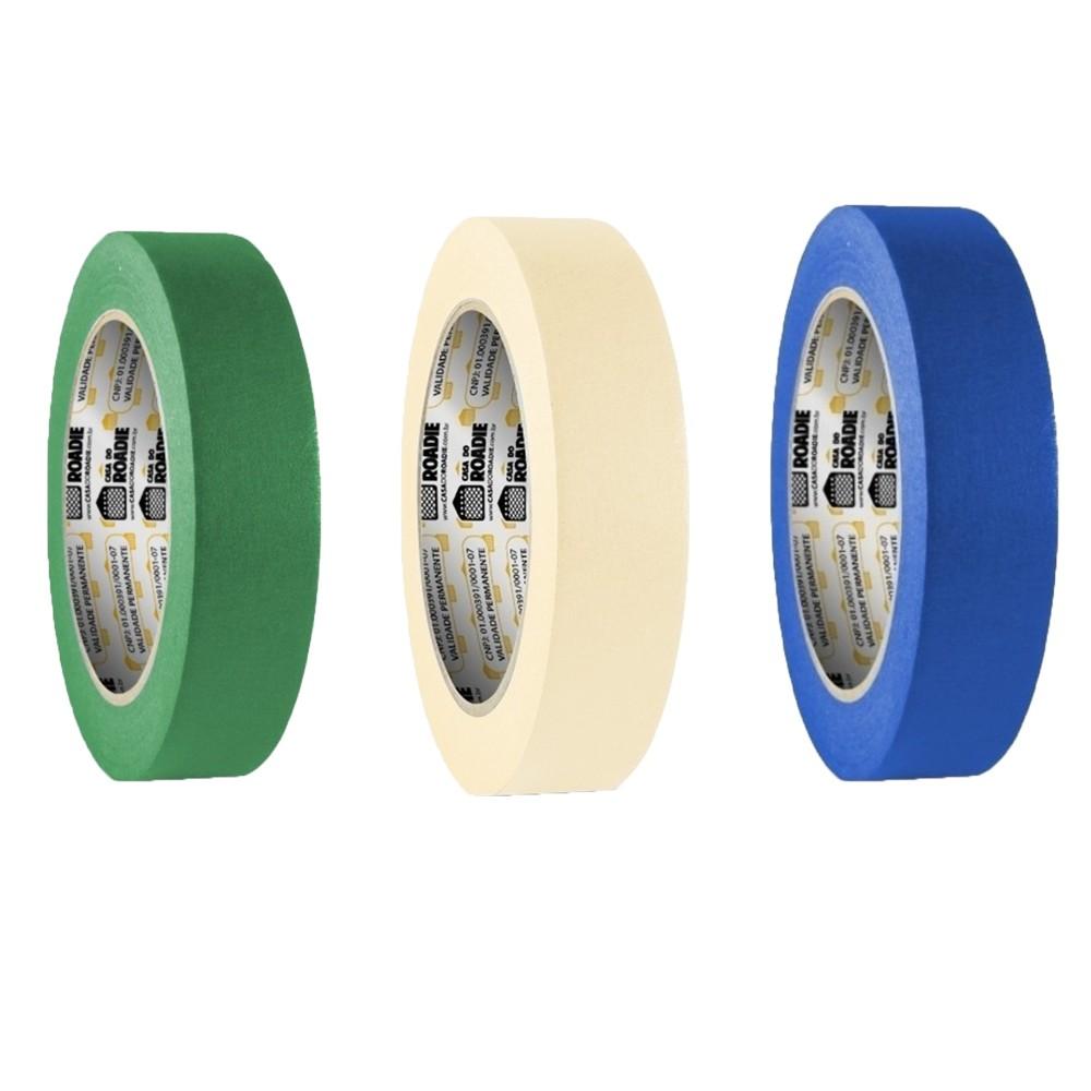 Kit Fita de Papel Crepe Colorida Casa do Roadie 24mm X 20m - 3 Cores