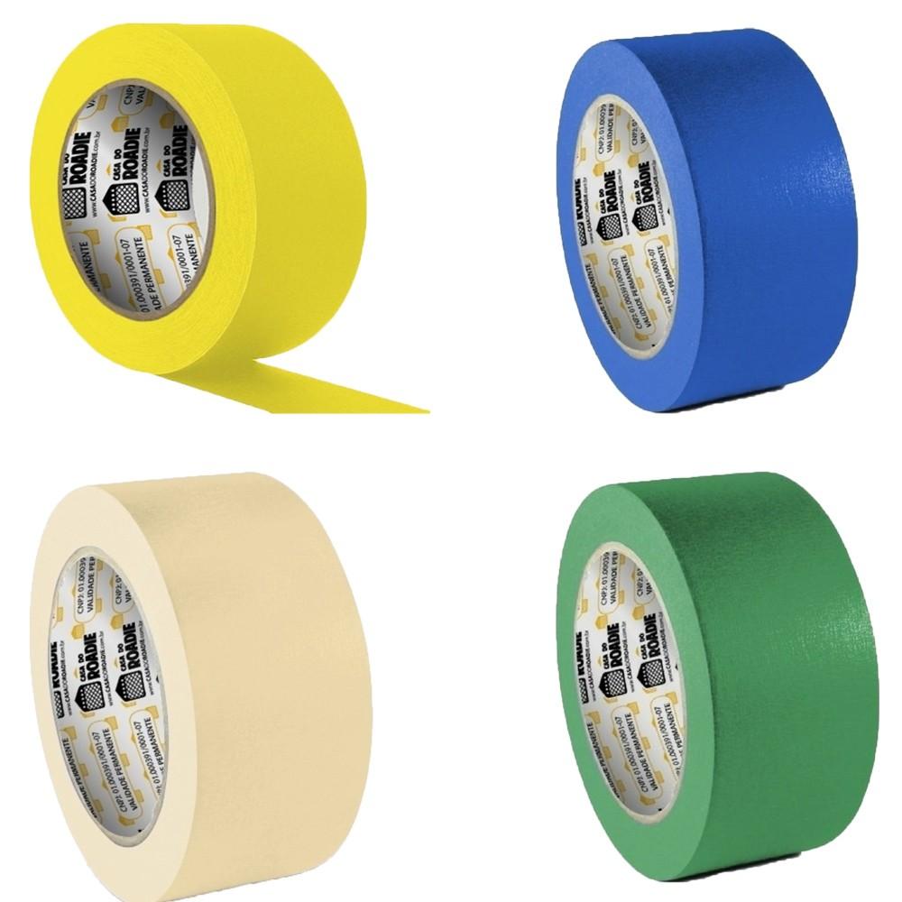 Kit Fita de Papel Crepe Colorida Casa do Roadie 48mm X 20m - 4 Cores