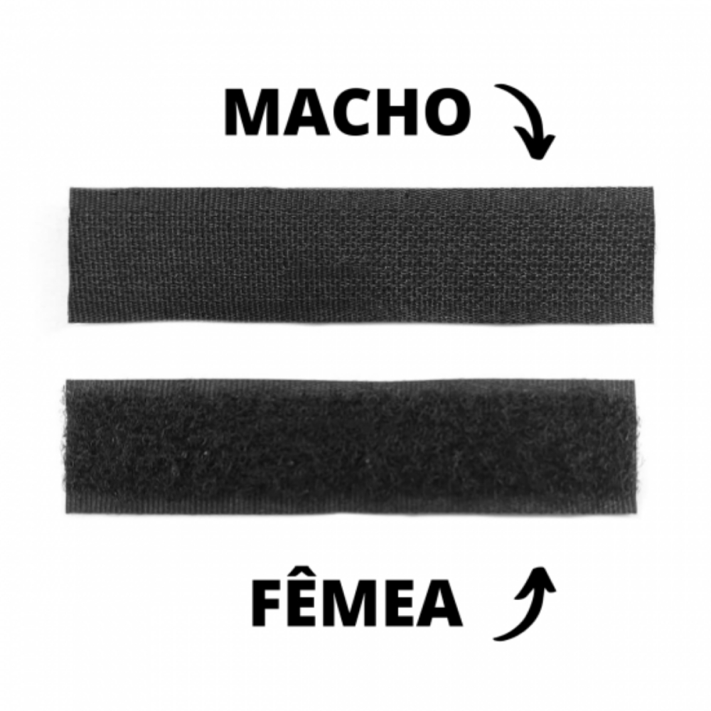Kit Tira de Contato Adesivo Velfix 25mm X 1m Preta - Macho e Fêmea