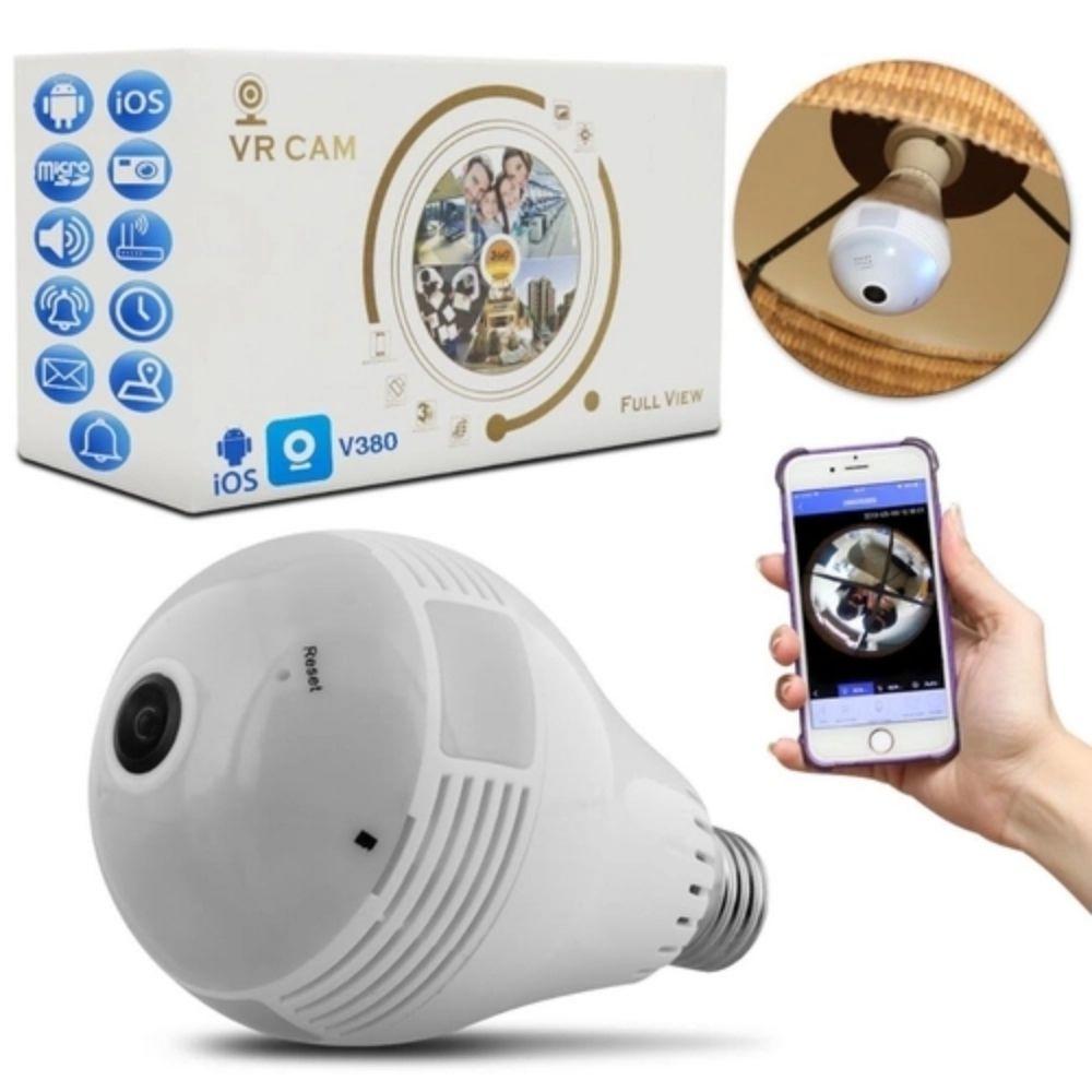 Lâmpada Espiã com Câmera IP Led Wifi Hd Panorâmica