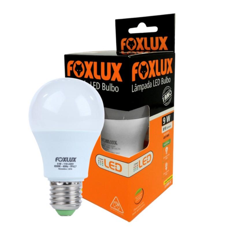 Lâmpada LED Bulbo Foxlux 09W 6500K Branca  - Casa do Roadie