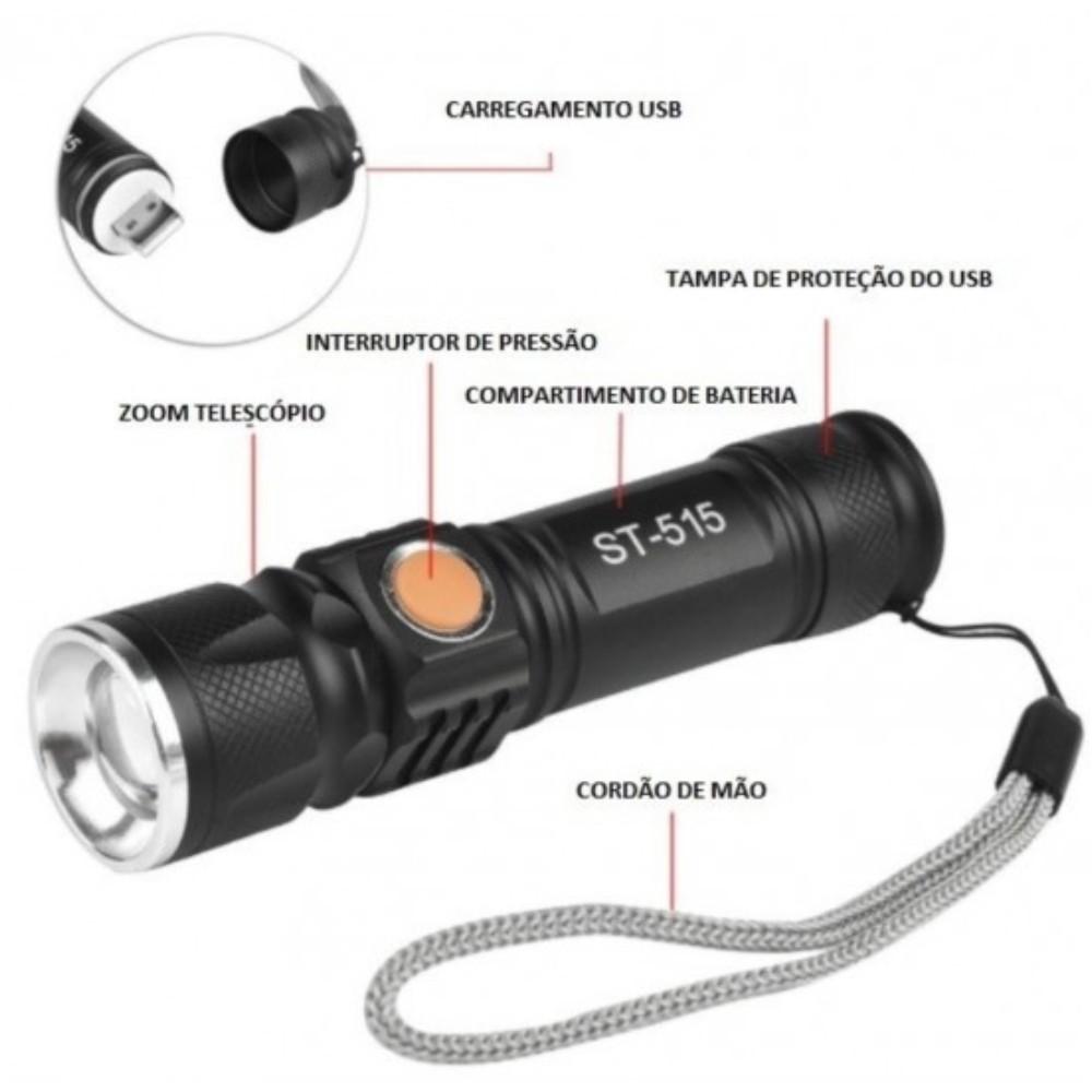 Lanterna LED Tática Recarregável USB  - Casa do Roadie