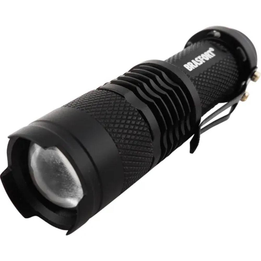 Lanterna Mini LED com Zoom Preta Brasfort - Pilha  - Casa do Roadie