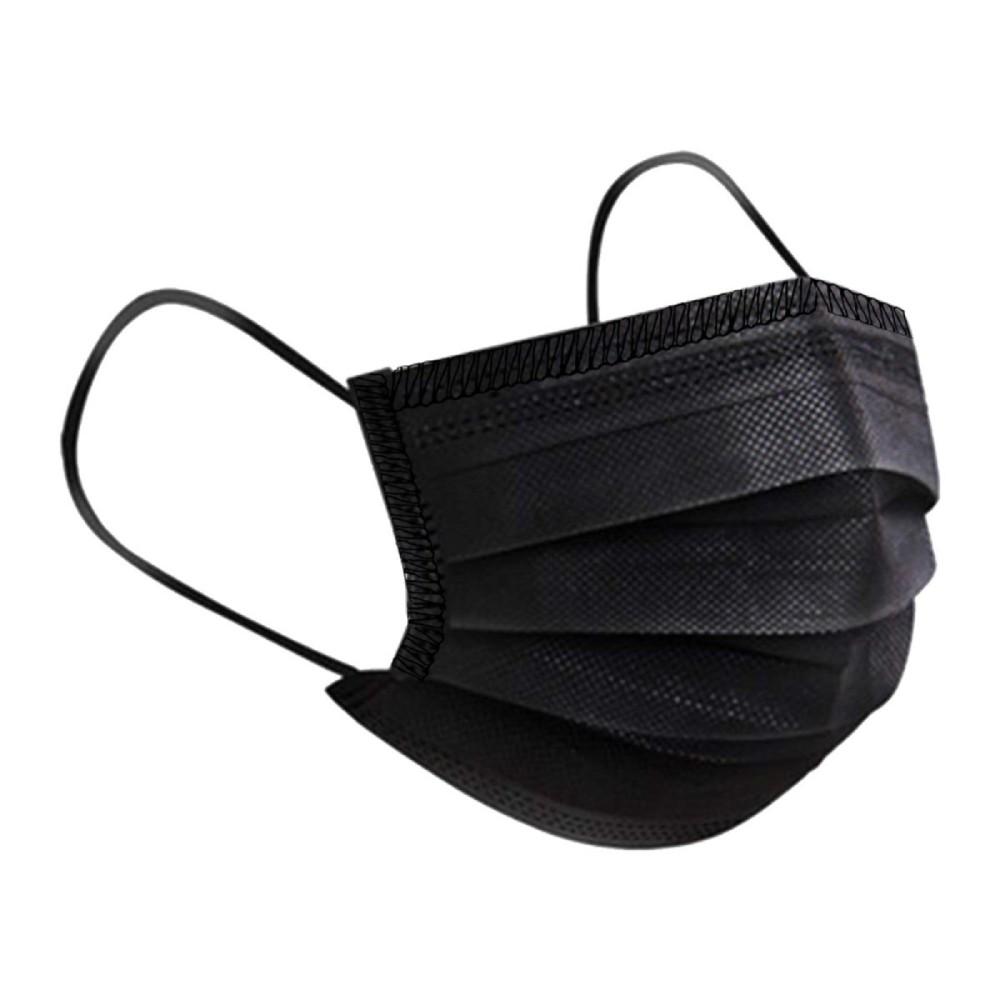 Máscara TNT Camada Tripla com Clip Nasal Preta - 5 unidades