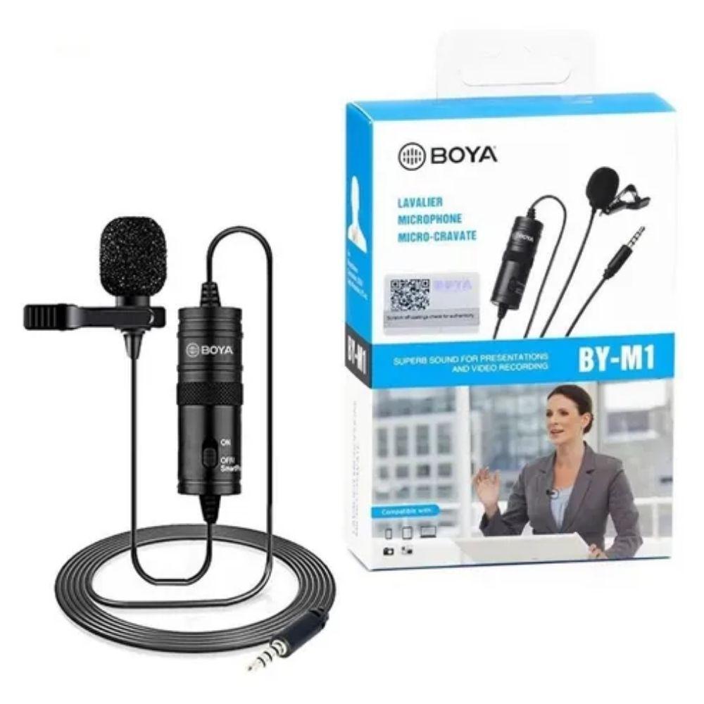 Microfone de lapela com fio Boya BY-M1  - Casa do Roadie