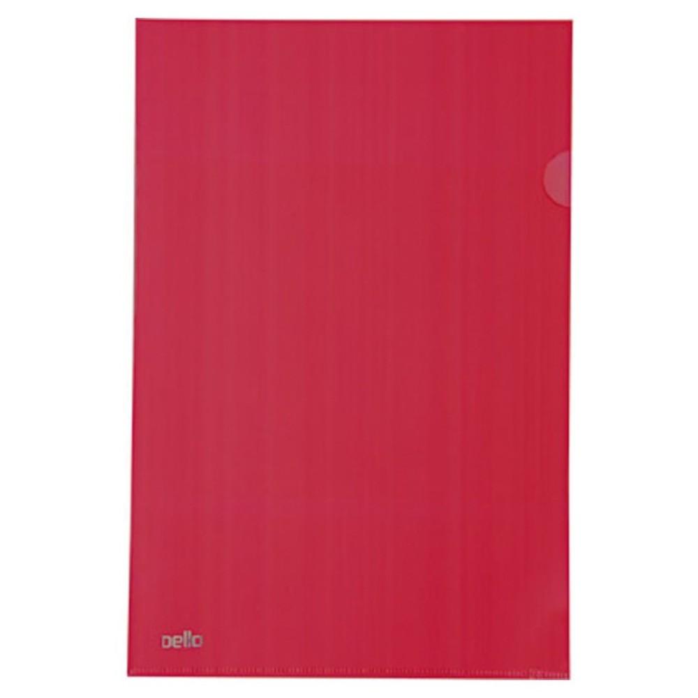 Pasta Plástica Protetora em L para Folhas A4 Vermelha