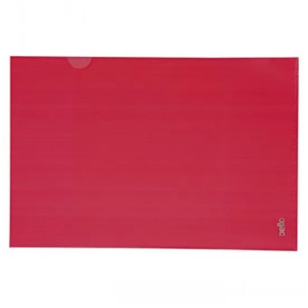 Pasta Plástica Protetora em L para Folhas A4 Vermelha  - Casa do Roadie