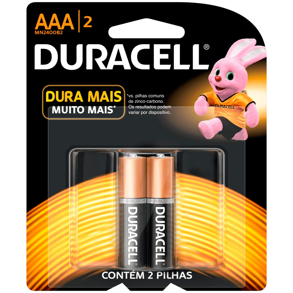 Pilha Alcalina AAA Duracell - 2 unidades  - Casa do Roadie
