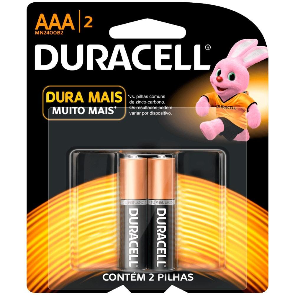Pilha Alcalina AAA Duracell - 2 unidades