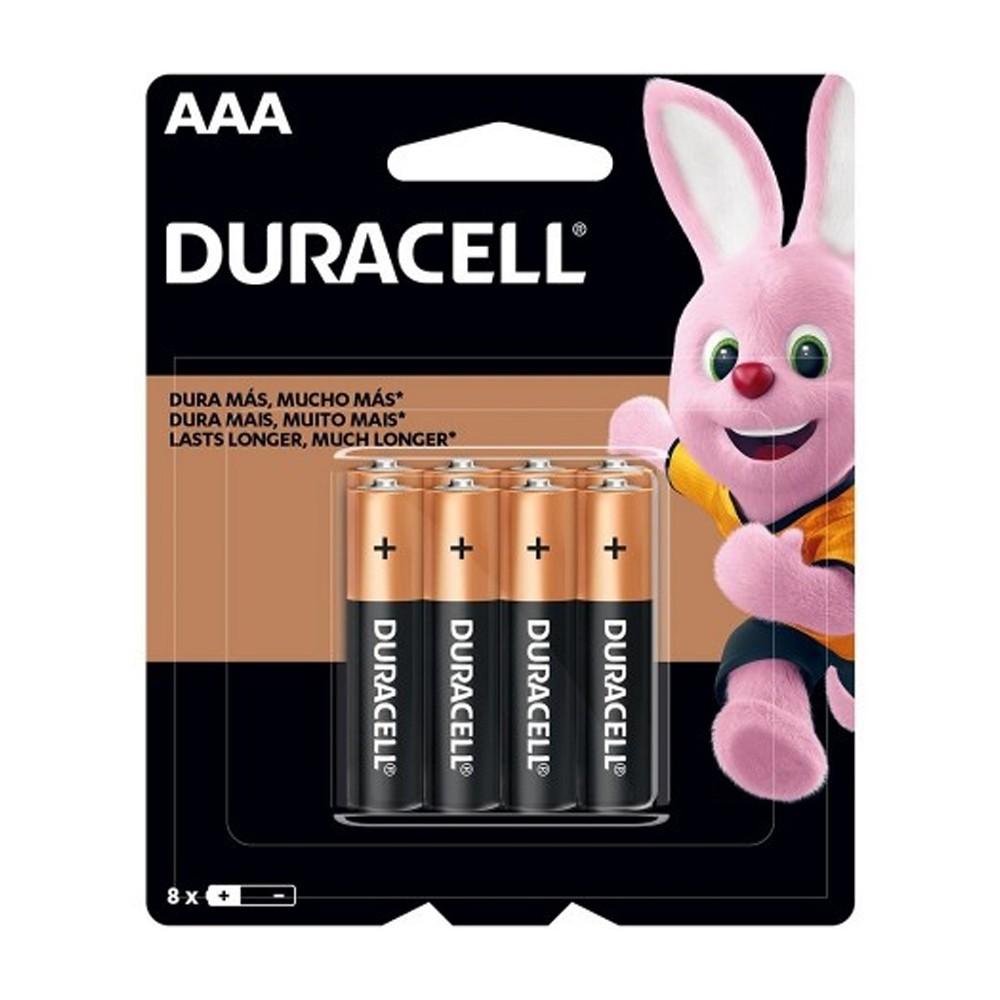 Pilha Alcalina AAA Duracell - 8 unidades