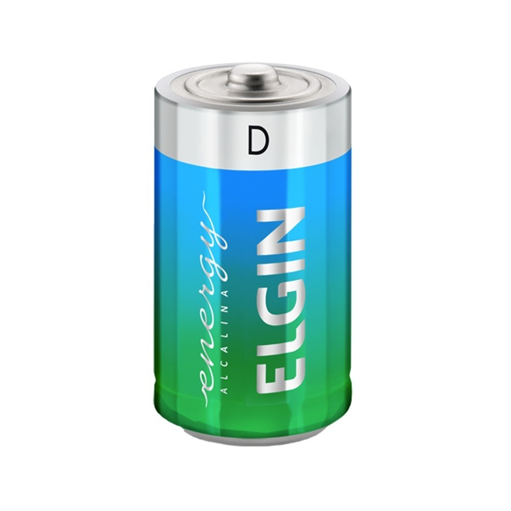 Pilha Alcalina Elgin D - 2 Unidades