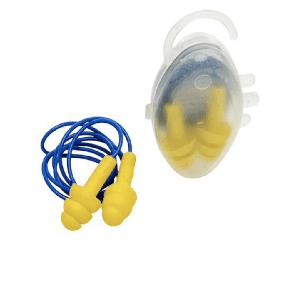 Protetor Auricular de Silicone com Cordão Amarelo