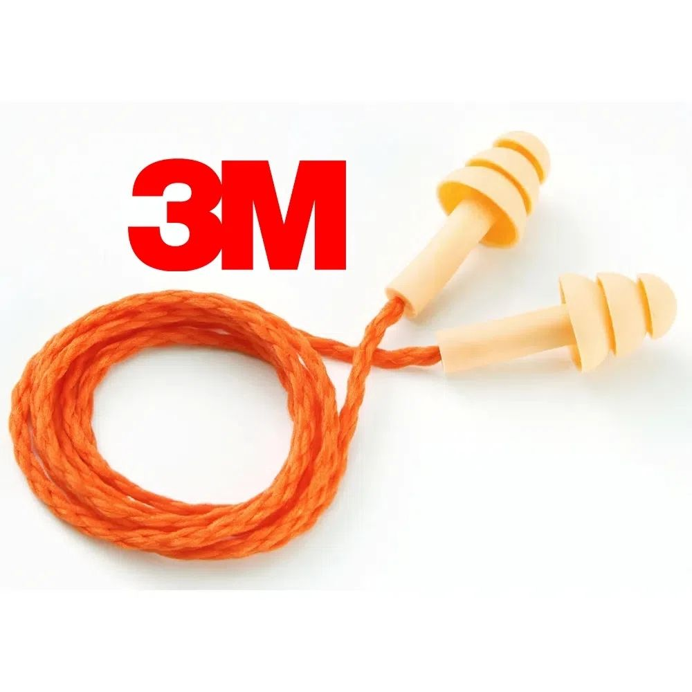 Protetor Auricular de Silicone com Cordão Laranja 3M