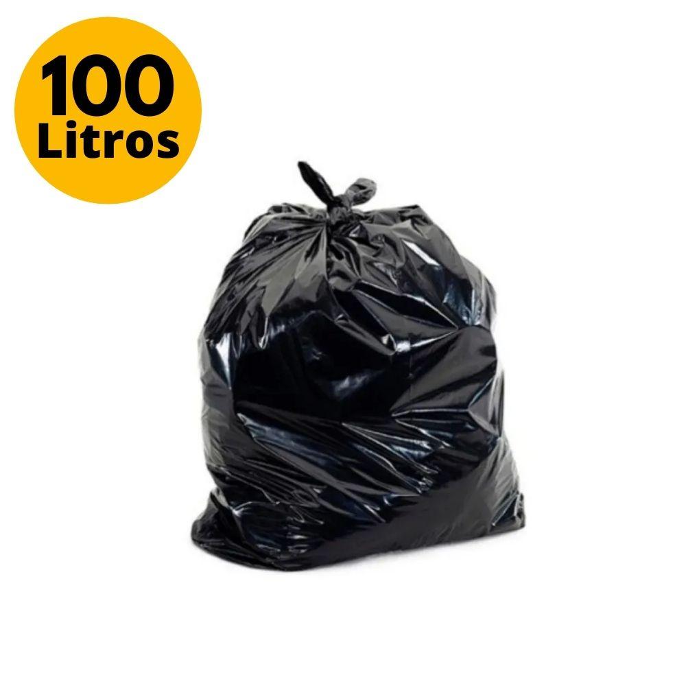 Saco de Lixo 100L Comum Preto - 100 Unidades