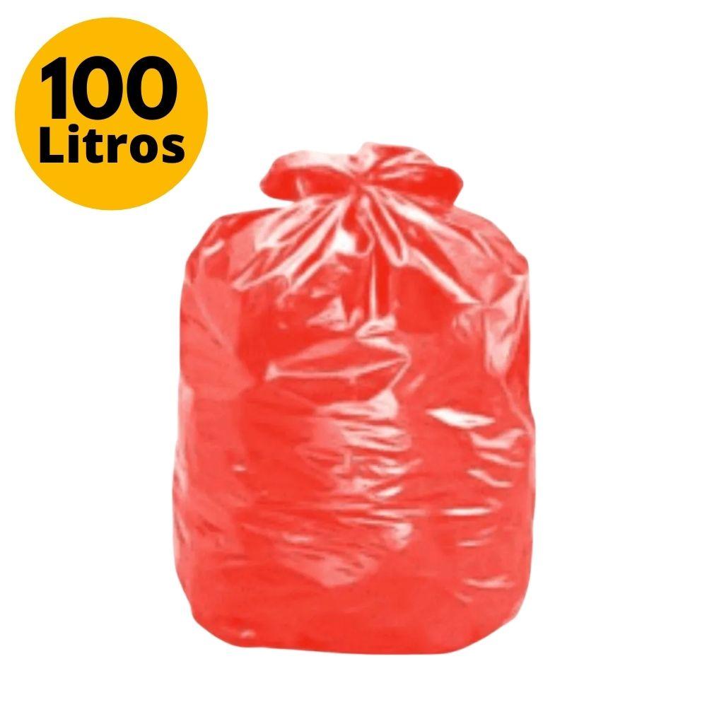 Saco de Lixo 100L Comum Vermelho - 25 Unidades