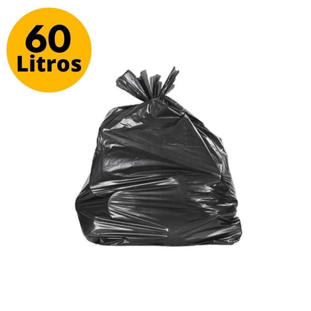 Saco de Lixo Reforçado 60L Preto 1KG 10 Unidades