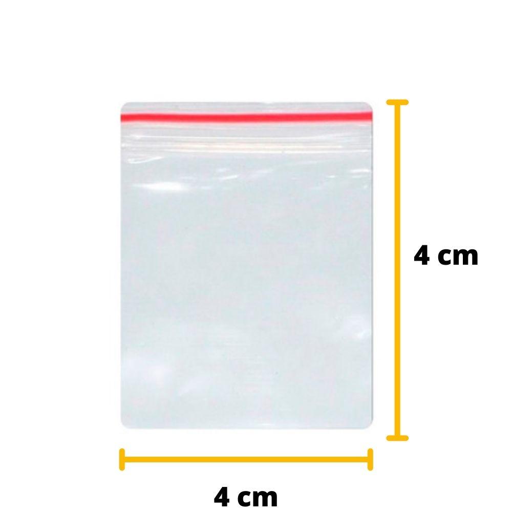 Saco Zip Lock N0 4cm X 4cm Transparente - 100 unidades