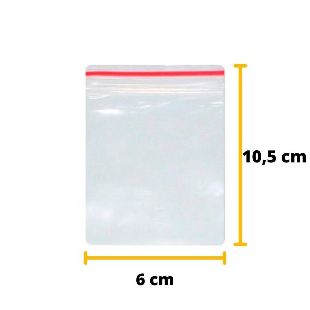 Saco Zip Lock N2 6cm X 10,5cm Transparente - 100 unidades