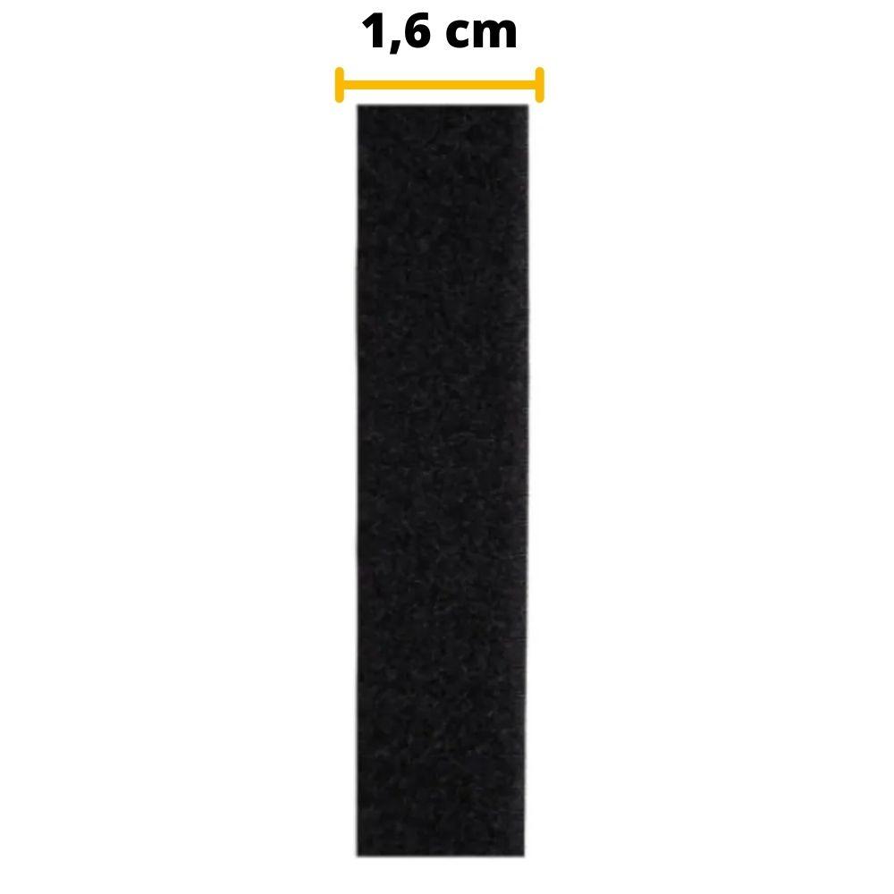 Tira de Contato Adesivo Fêmea Velfix 16mm X 1m Preta