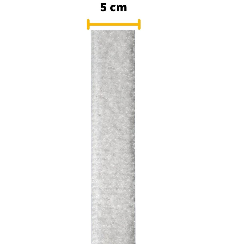 Tira de Contato Adesivo Fêmea Velfix 50mm X 1m Branca