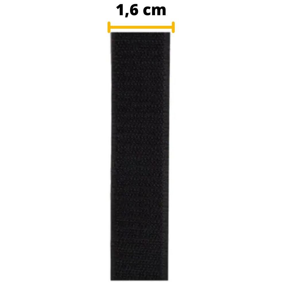 Tira de Contato Adesivo Macho Velfix 16mm X 1m Preta