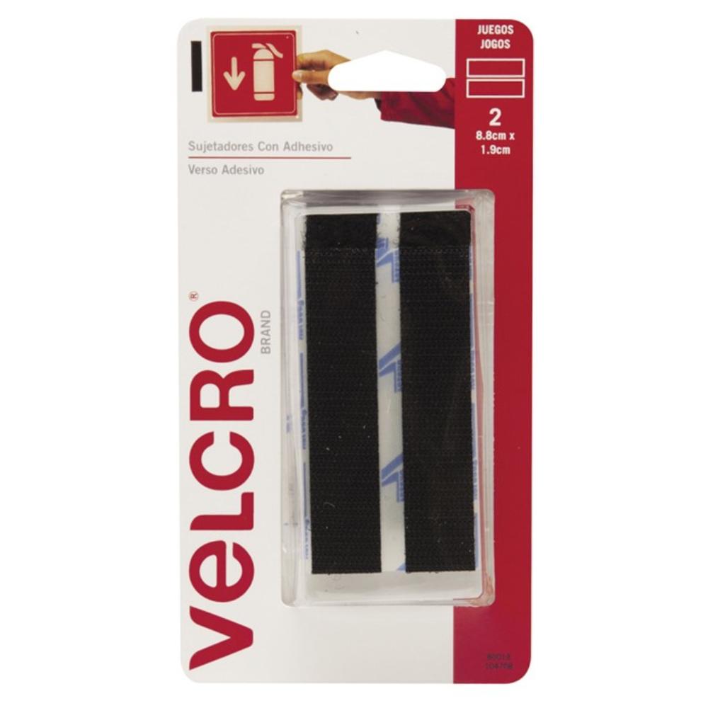 Tira de Contato Autoadesivo Velcro® 88mm X 19mm Preto - 2 Unidades