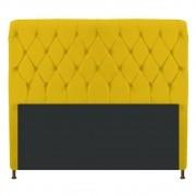 Cabeceira Estofada Cristal 160 cm Queen Size Com Capitonê Corano Amarelo - ADJ Decor