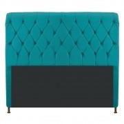Cabeceira Estofada Cristal 195 cm King Size Com Capitonê Suede Azul Turquesa - ADJ Decor
