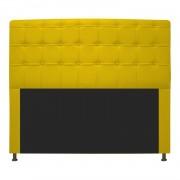 Cabeceira Estofada Dama 140 cm Casal Com Botonê  Corano Amarelo - ADJ Decor