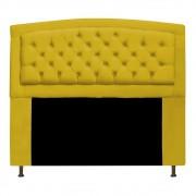 Cabeceira Estofada Geovana 195 cm King Size Com Capitonê Suede Amarelo - ADJ Decor