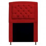 Cabeceira Estofada Geovana 90 cm Solteiro Com Capitonê  Suede Vermelho - ADJ Decor