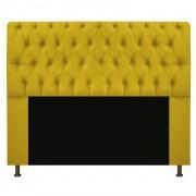 Cabeceira Estofada Lady 160 cm Queen Size Com Capitonê Suede Amarelo - ADJ Decor
