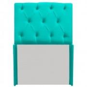 Cabeceira Estofada Lara 90 cm Solteiro Com Capitonê Corano Azul Turquesa - ADJ Decor