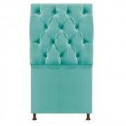 Cabeceira Sofia 100 cm King Size Suede Azul Tiffany - ADJ Decor