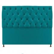 Cabeceira Sofia 140 cm Casal Suede Azul Turquesa - ADJ Decor