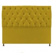Cabeceira Sofia 195 cm King Size Suede Amarelo - ADJ Decor