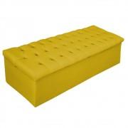 Recamier Baú Estofada Mel 195 cm King Size Com Capitonê Suede Amarelo - ADJ Decor