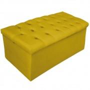 Recamier Baú Estofada Mel 90 cm Solteiro Com Capitonê  Suede Amarelo - ADJ Decor