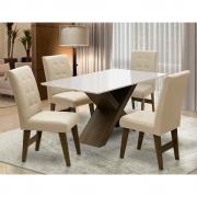 Conjunto Mesa de Jantar com 04 Cadeiras Agata 135cm Castanho/Branco Off/Bege - ADJ DECOR