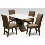 Conjunto Mesa de Jantar com 04 Cadeiras Agata 135cm Castanho/Branco Off/Castor - ADJ DECOR
