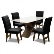 Conjunto Mesa de Jantar com 04 Cadeiras Agata 135cm Castanho/Branco Off/Preto - ADJ DECOR