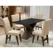Conjunto Mesa de Jantar com 04 Cadeiras Agata 135cm Castanho/Preto/Bege - ADJ DECOR
