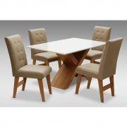 Conjunto Mesa de Jantar com 04 Cadeiras Agata 135cm Cedro/Branco Off/Mascavo - ADJ DECOR