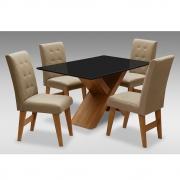 Conjunto Mesa de Jantar com 04 Cadeiras Agata 135cm Cedro/Preto/Mascavo - ADJ DECOR