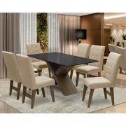 Conjunto Mesa de Jantar com 06 Cadeiras Agata 160cm Castanho/Preto/Bege - ADJ DECOR