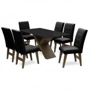 Conjunto Mesa de Jantar com 06 Cadeiras Agata 160cm Castanho/Preto/Preto - ADJ DECOR