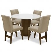 Conjunto Mesa de Jantar Isis com 04 Cadeiras Lorena Castanho/Branco Off/Bege - ADJ DECOR